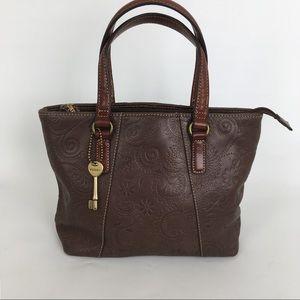 Fossil Leather Embossed Handbag